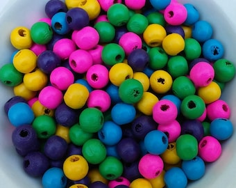 Colored Wood Beads, Round Wood Beads, Round Beads, 100 Pieces 6 mm Beads DIY Jewelry Crafts, Macrame Jewelry, Small Wood Beads, Small Beads
