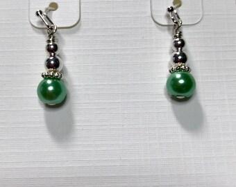 Petite Swarovski Pearl and silver plated dangle earrings