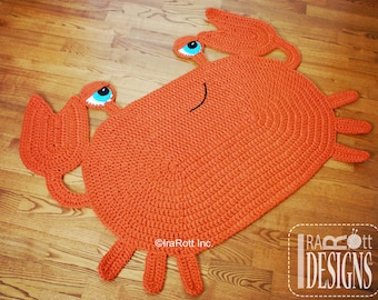 Handmade Crochet Crab Rug - READY to SHIP
