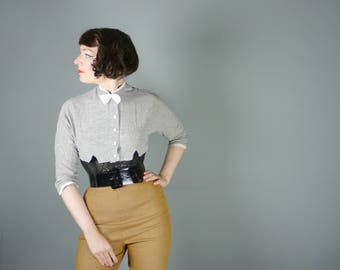 50s CROPPED jacket in lightweight GREY flecked cotton - Mid Century bolero jacket with neck BOW - S