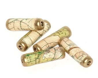 Recycled Road Map paper beads, for travel and holiday theme crafts and jewelry making