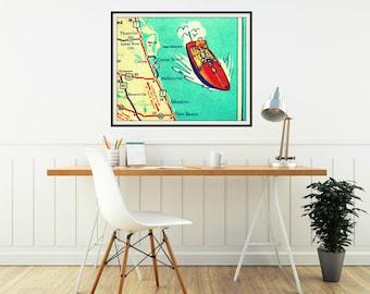 COCOA BEACH map art, retro Florida map art 1960's Florida vintage beach map Cocoa Sebastian Vero Beach map art,aqua red speedboat, beach map