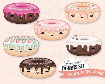 Kawaii Donuts Clipart Set, Vector Clip Art, Colorful Doughnuts, Sprinkles, Cute Commercial Use Planner Sticker Graphics, Treats, Sweets
