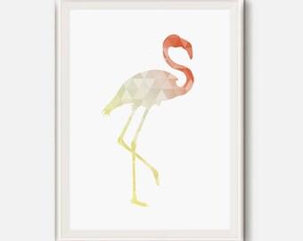 Gold and coral, Flamingo print, Geometric Flamingo, Coral and gold nursery art, Bird wall art,Abstract Flamingo,Kids Room Digital Printable