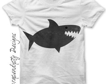 Shark Iron on Transfer - Ocean Iron on Shirt PDF / DIY Shark Shirt / Kids Boys Clothing Tshirt Outfit / Shark Birthday Party Printable IT180