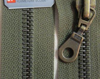 70 cm khaki zipper closure detachable brass Prym
