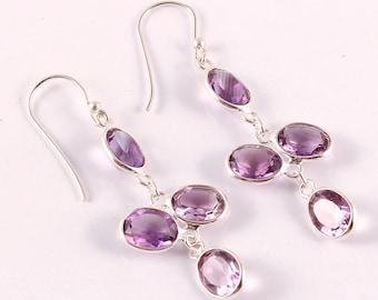 Amethyst 92.5 sterling silver earring