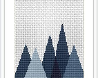 Forest Cross Stitch Pattern Geometric Mountains Geometric Scandinavian Mid Century Woodland cross stitch Modern cross stitch  X004