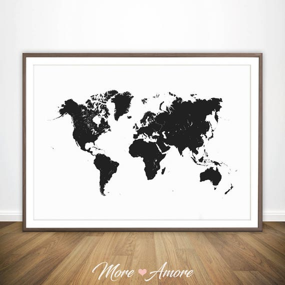World map black and white print large world map wall art gumiabroncs Gallery