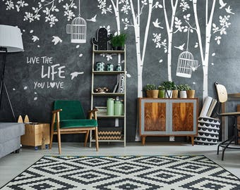 "01442 ""Forest with cages"" Wall Stickers Decoration trees"