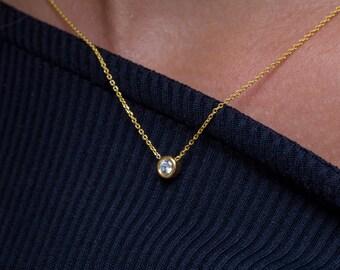 Diamond necklace, 18k diamond necklace, Moissanite necklace,  Rose diamond necklace, Natural diamond, 14k diamond necklace