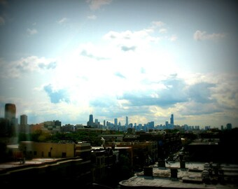 Chicago Photo, Chicago skyline print, Chicago Photography, Chicago Art, city, architecture, modern, travel, light blue, gray, sky, clouds