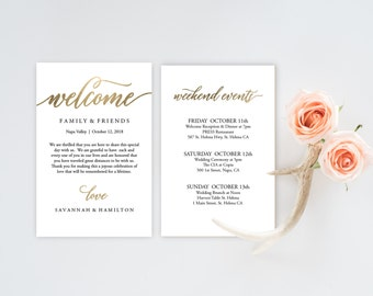 Amazing Wedding Welcome Bag Note, Gold Wedding Calligraphy, Welcome Bag Letter,  Printable Wedding Itinerary