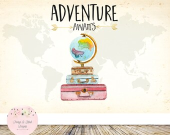 Digital Adventure Awaits Backdrop, Oh the places you'll go Backdrop, Baby Shower Backdrop, Birthday Backdrop, Cake Table Backdrop, Poster