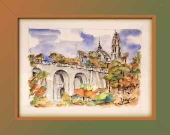 RETOUCHED CANVAS Print, San Diego Museum of Man, Jorge Garza water color impressionist painting, fine art
