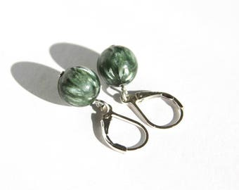 Seraphinite Sterling Earrings Green Shimmer Natural Stone Bead Chatoyant Green Stone Green Earrings Minimal Style Simple Leverback #18630