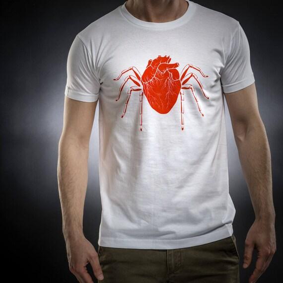 Heart,Spider shirt,tshirt men,black tshirt,Gift for him,Occult,Horror,Cotton,Sol's tee,Serial Popers tshirt