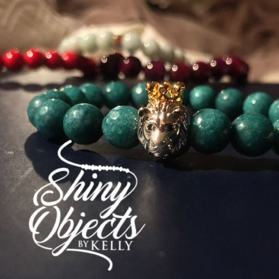 Dyed Teal Jade Bracelet with Gold and Silver Lion
