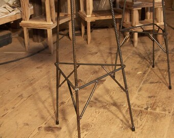 FREE SHIPPING Extra Tall Reclaimed Wood Industrial Style Factory Bar Stools with Rebar Metal Legs