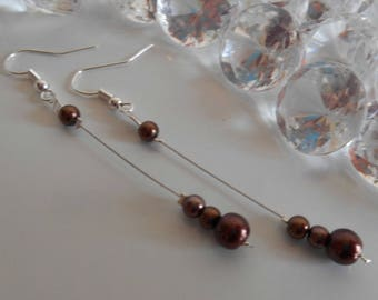 Dangle wedding Pearl Earrings Pearl chocolate brown