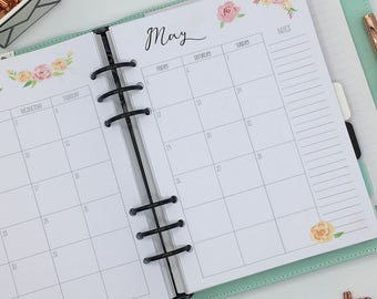 Printed A5 Planner Inserts - Monthly Refill - Month on 2 pages - Large Kikki-K or Filofax - Summer Flowers