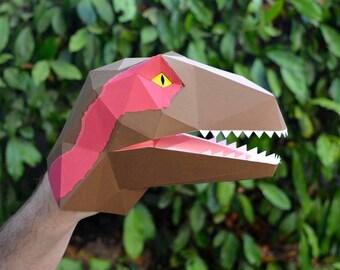 Velociraptor Puppet Paper Pattern   Dinosaur Puppet   Kids Craft Project   Dinosaur Party   Raptor Squad   Hand Puppet
