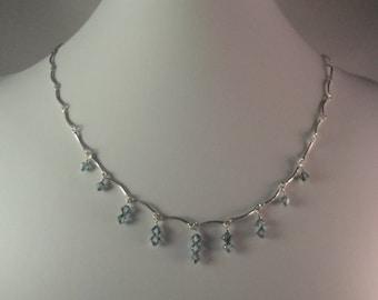 Sterling Silver and Blue Swarovski Necklace