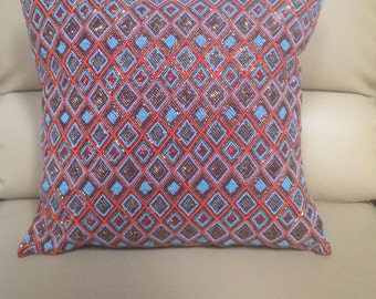 Handcrafted beaded pillow