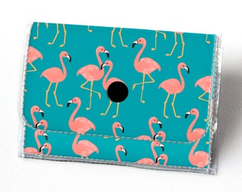 Vinyl Accordion Wallet - Tropical Summer1 /  floral, pineapples, flamingos, blue, small wallet, snap, cute, card case, vinyl wallet, women's