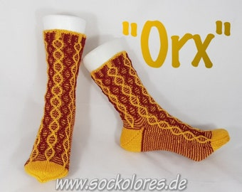 "Hand Knitted Socks ""Orx"", knitted socks, wool socks, Gr. 38-39, from 4fädiger socks wool"