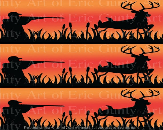 Orange Deer Hunting Birthday - Edible Cake Side Toppers- Decorate The Sides of Your Cake! - D24133