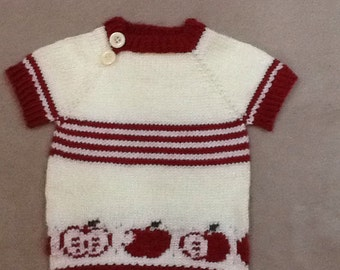 Free shipping! Toddler's short sleeve sweater/tunic with an apple motif in size 12 months