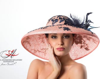 "Royal ascot/Derby hats/Kentucky hats/Pink hat with broad brim ""Aristocracy""/Hat for horse racing/Hat for holidays/Evening hat/Sinamay hat"
