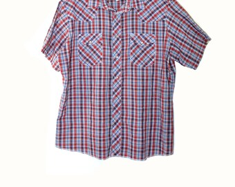 Vintage Pearl Snap Shirt Plaid Shirt Western Pearl Snap Shirt Cowboy Shirt Short Sleeve Pearl Snap Shirt Size XL