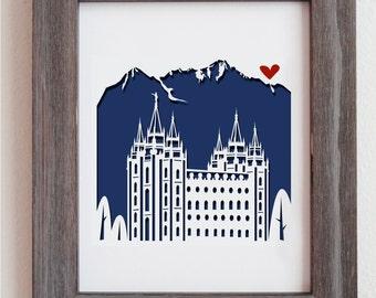 "Salt Lake City Mormon Temple cut out artwork 11x14"""