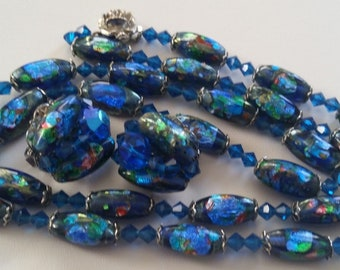 Hobé Brilliant Blues And Hints Of Green Foiled Glass Demi Parure ~ Beautiful Authentic And Collectible Designer Vintage Jewelry
