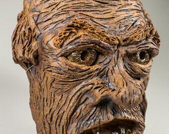 Crazy Old Man ceramic sculptural mask