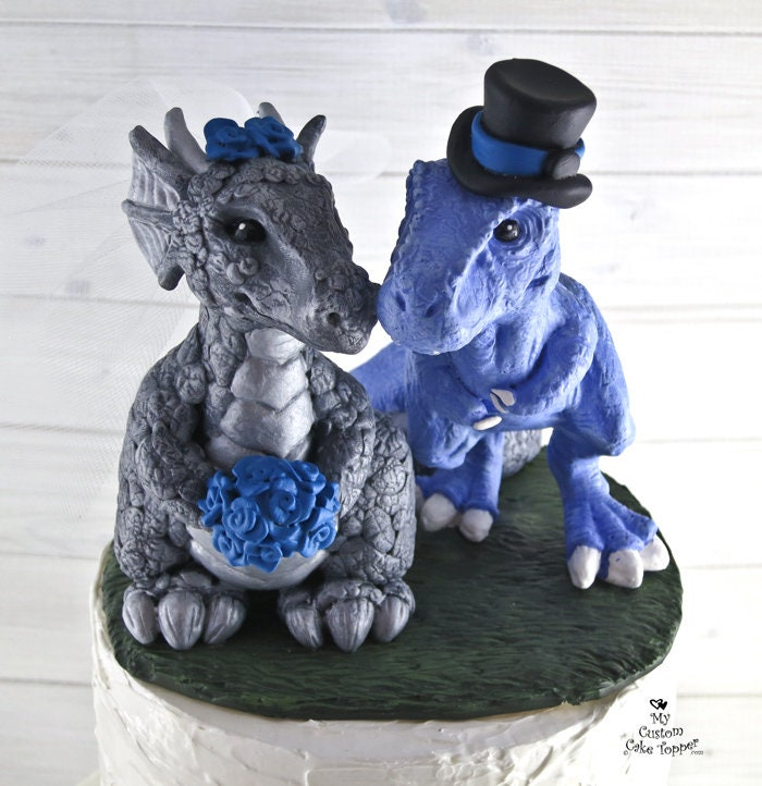 T-Rex and Dragon Wedding Cake Topper - Realistic Dino and Dragon ...