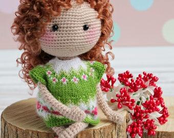 Crochet doll in light green dress Organic baby doll Gift for daughter Art doll Baby Shower Gift Birthday gift for girl Amigurumi custom doll