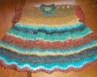 A Very Pampered Little Princess - Jewel Rainbow in Noro Yarn - Fancy Hand Knit Dress with Lace Border