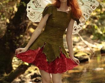 Poppy Fairy Dress, Adult Fairy Costume, Elvish Clothing, Festival Outfit, Theater Costume, Halloween Costume, Renaissance Costume, Faery