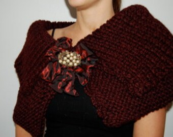 Hand Knit Abergine Capelet