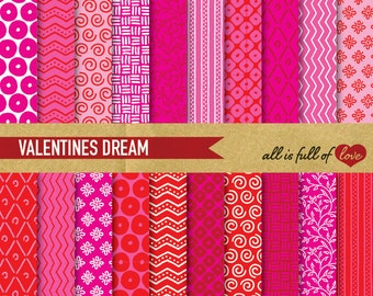 DIGITAL Patterns Red And Pink VALENTINES Gift Wrapping Background Patterns