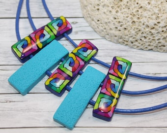 Rainbow and turquoise necklace