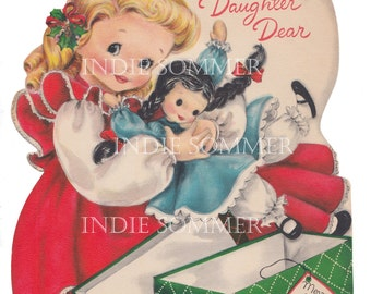 Digital download, Sweet Little Girl Holding Her Doll, Vintage Christmas Greeting Card, Instant Download