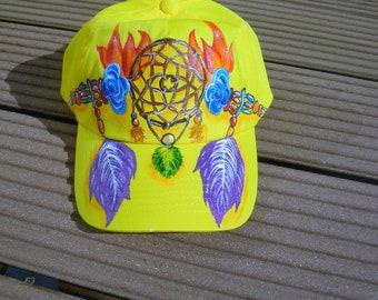 casquette enfant, casquette jaune,  peinte main, casquette attrape-rêves, taille ajustable, mode hippie, casquette coton, casquette fille