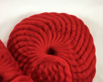 Red wool roving for needle felting, spinning, weaving and locker hooking