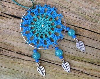 Lace dream catcher, Jadeite necklace crochet dreamcatcher, Ethnic gem stone, Native american gemstone pendant, Tribal wood statement jewelry