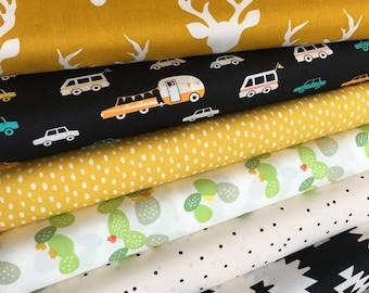 Cactus, Cotton Fabric, Rustic Fabric, Cactus Decor, DayTrip Fabric Bundle, Cactus Party, Rustic Home Decor, Bundle of 6, Choose the Cut