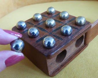 Vintage Wooden Tic Tac Toe Game - 10 Metal Balls - Slide Top Storage - Clean - Decorative - Practical - Complete Set - Unique - Solid Wood